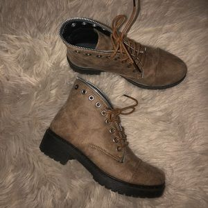 Taupe booties in great condition.